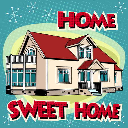 Sweet home cottage pop art retro style. Private house. Building architecture. Real estate rent sell construction.