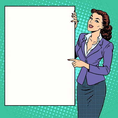 Poster businesswoman style your brand here pop art retro. Advertising and the announcement. The woman with the poster. Your text here