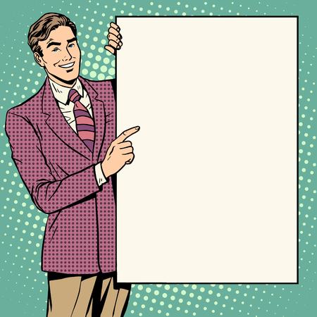 Le style d'affiche d'homme d'affaires de votre marque ici pop art rétro. L'annonce annonce publicitaire publicitaire. Votre texte ici. Éducation et formation. Présentation du rapport de concept d'entreprise.