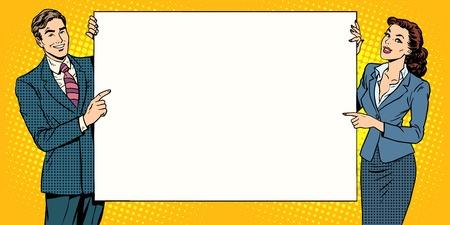 stil: Plakat Mann Frau Werbung für Ihre Marke hier Pop-Art Retro-Stil. Bildung und Ausbildung in der Schule und Universität. Business-Konzept-Präsentation und Bericht. Plakat-Stil Illustration