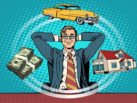 男の夢家お金車ポップアート レトロなスタイル。ビジネス コンセプト ビジネスマン