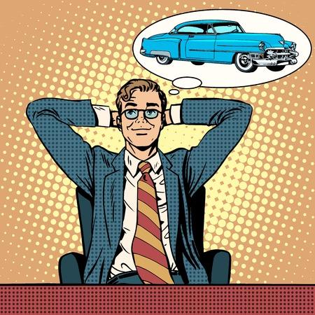 El hombre de negocios soñando con un estilo del arte pop retro coche. sueños para hombre
