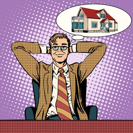 lease: Mens dream home pop art retro style. Lease and purchase of real estate. Loans and insurance Illustration