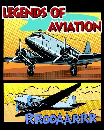 Legends of luchtvaart abstracte retro vliegtuig pop art retro stijl. Retro stijl wenskaarten en verzamelkaarten. Equipment transportvliegtuigen.