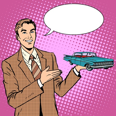 Businessman car salesman pop art retro style. Sale and rental, repair and restoration. Business concept automotive