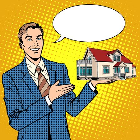 hombre de negocios de bienes raíces ofrece estilo retro del arte pop en casa. Alquiler construcción de bienes raíces y venta. Seguro de propiedad. Casa de Campo