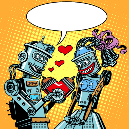 Robots man woman love Valentines day and wedding pop art retro style. Technology and emotions. Humor. Postcard on Valentine day. A Declaration of love. A red heart. Illustration