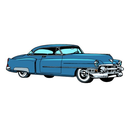 rarity: Retro blue car classic abstract model pop art retro style. Transport and road. Collectible rare car. Repair and restoration