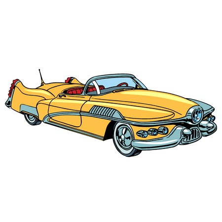 restoration: Retro yellow car classic abstract model pop art retro style. Transport and road. Collectible rare car. Repair and restoration Illustration