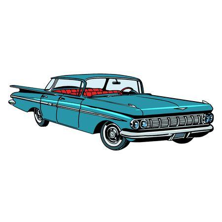 Retro groene auto klassiek abstract model pop art retro stijl. Transport en weg. Collectible zeldzame auto. Reparatie en restauratie