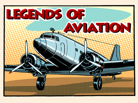 aircraft: Legends of aviation abstract retro airplane pop art retro style. Style retro greeting cards and collectible cards. Equipment aircraft transport.