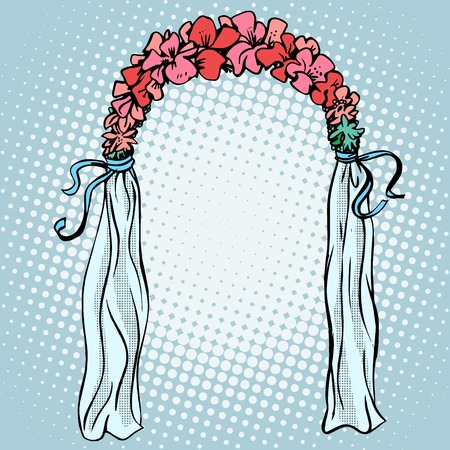 wedding  art: Wedding gate for the betrothal pop art retro style. Love romantic decoration Illustration