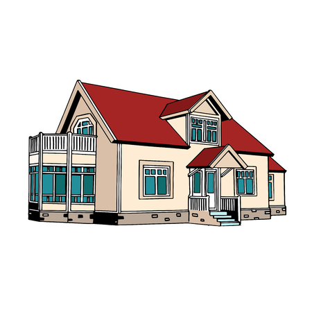 buy house: Suburban two-storey house pop art retro style. Real estate for sale and rent. Property insurance
