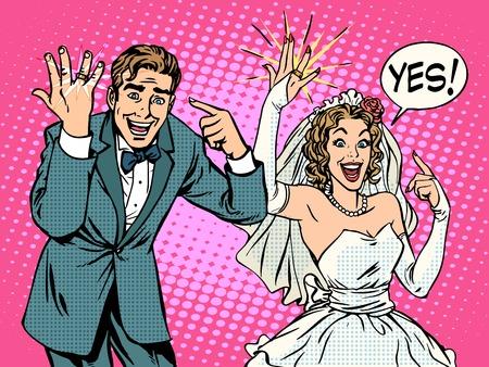 Happy oblubienicy i oczyszczenie z obrączki pop art retro styl. Kocham romantyczne emocje. Valentines day i wesele. Mężczyzna i kobieta. Ślub i małżeństwo. Złota biżuteria pierścienia
