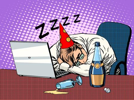 graduacion caricatura: estilo retro del arte pop fiesta de cumplea�os duro. El hombre en el partido de fondo de el cumplea�os de ni�o duerme en la oficina junto a la botella de champ�n y un ordenador port�til. Vectores