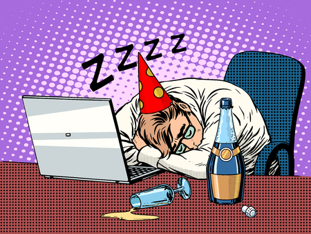 nightcap: Hard birthday party pop art retro style. The man in the nightcap of the birthday boy sleeps in the office next to the bottle of champagne and a laptop.