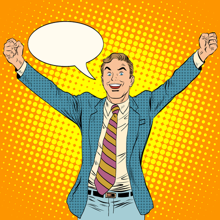 businessman winner business concept pop art retro style. White middle-aged man triumphantly he threw his arms up. Joy and success