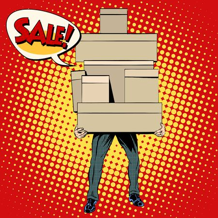 purchase book: Buyer shopping sale pop art retro style. A man with a mountain of shopping. People box
