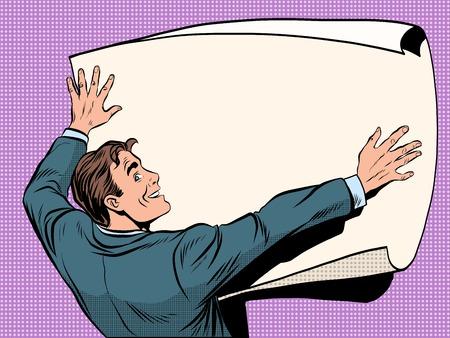 Man avec le plan d'affaires style rétro pop art. Homme d'affaires avec déplia une feuille blanche pour dessiner et diagrammes. La science et les ingénieurs Vecteurs