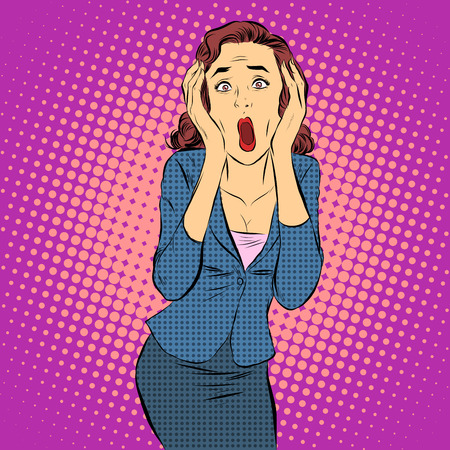 Businesswoman screaming pain horror emotions pop art retro style. Medical and mental health.
