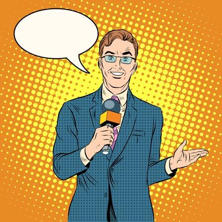 TV reporter male pop art retro style. New media and TV. News and politics. Illustration