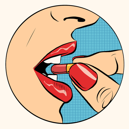 Taking the pill medication pop art retro style. A woman takes the pill. Medicine, pharmacology and health