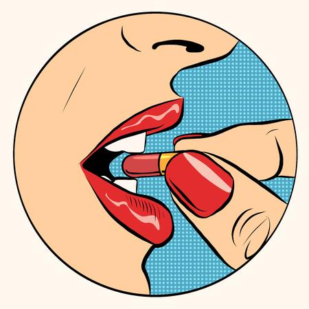 Prendendo la pillola farmaco pop art stile retrò. Una donna prende la pillola. Medicina, farmacologia e la salute Vettoriali