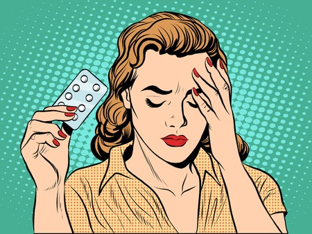 Woman with headache pills pop art retro style. Medicine and womens health. Pharmacology tablet drug
