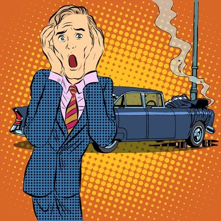Autounfall Mann Pop-Art Retro-Stil Panik. Transport und Straße. Kfz-Versicherung