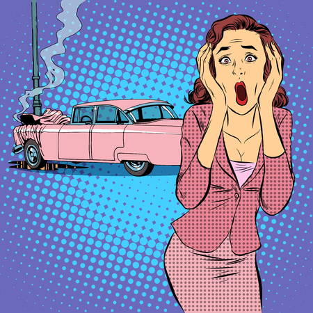 Female driver car accident pop art retro style. The young woman panic shock horror. Car insurance