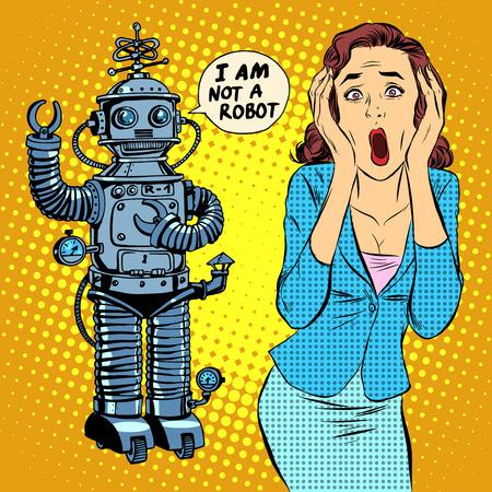 공상 과학 소설 공포 로봇 여자 공포 팝 아트 복고 스타일입니다. 과학 기술. 로봇 및 기계. 컴퓨팅의 세계. 인공 지능