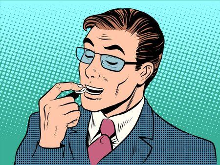 arte moderno: hombre de la medicina de la salud tablilla tratamiento retro del arte pop. Caramelos y dulces Vectores