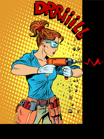 Vrouw boren de muur boren pop art retro stijl. Huishoudelijke apparaten, elektrisch gereedschap. De vrouw professionele reparateur