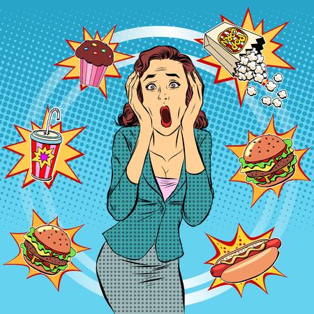 Fast food vrouw ongezonde voeding paniek pop art retro stijl. De gezondheid van een persoon. Middageten in het kantoor. Time and food