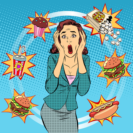Fast food woman unhealthy diet panic pop art retro style. The health of a person. Office lunch. Time and food