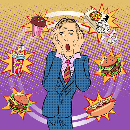 Fast food man unhealthy diet panic pop art retro style. The health of a person. Office lunch. Time and food Çizim