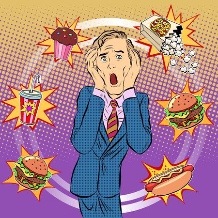 Fast Food Mann ungesunde Ernährung Panik Pop-Art Retro-Stil. Die Gesundheit einer Person. Mittagessen ins Büro. Zeit und Essen