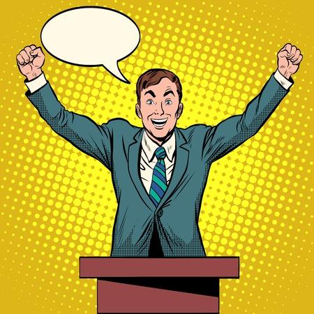 senator: Speaker candidate speech at the podium pop art retro style. Political elections Deputy President Senator. The winner of the vote Illustration