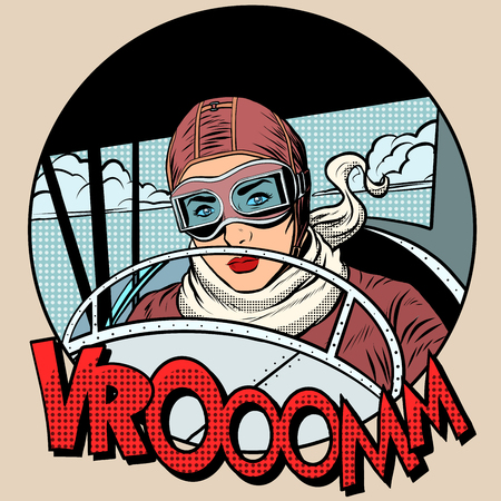 Retro Aviator woman on the plane pop art style. Traveler pioneer hero 일러스트