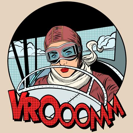 Retro Aviator woman on the plane pop art style. Traveler pioneer hero Vettoriali