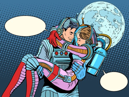 heroes: Couple astronauts love man woman pop art retro style. Science fiction and space exploration. Wedding love and Valentines day. Heroic poster