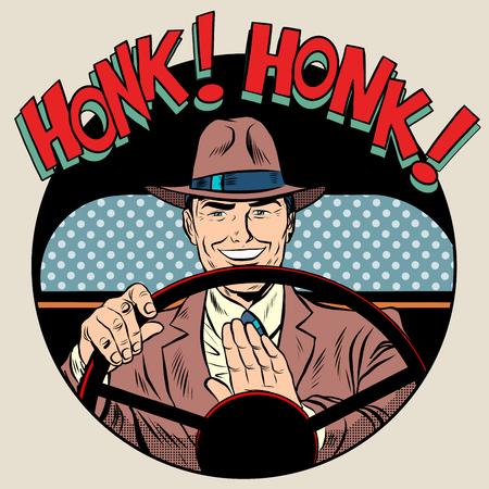 chofer: hombre controlador estilo retro pop art bocinazo claxon del vehículo. transporte de coches de conducción por carretera