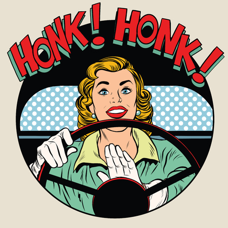 honk vehicle horn driver woman pop art retro style. Car road driving transport