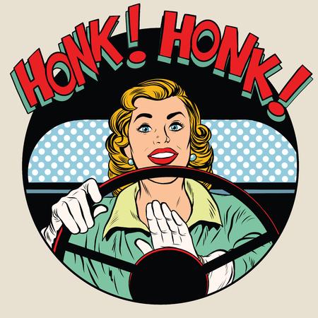 Mujer de conductor de estilo retro pop art bocinazo claxon del vehículo. Camino del coche de transporte de conducir