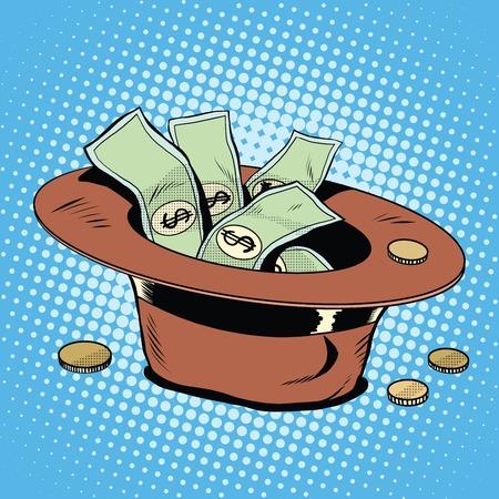 pobreza: El sombrero de donaciones de la pobreza y el estilo del arte pop retro caridad. El dinero y las finanzas