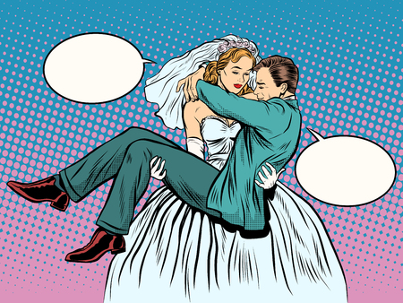 Wedding bride groom carries in her arms pop art retro style. Emancipation modern woman feminine power. Funny love relationship marriage. The role of men and role of women.