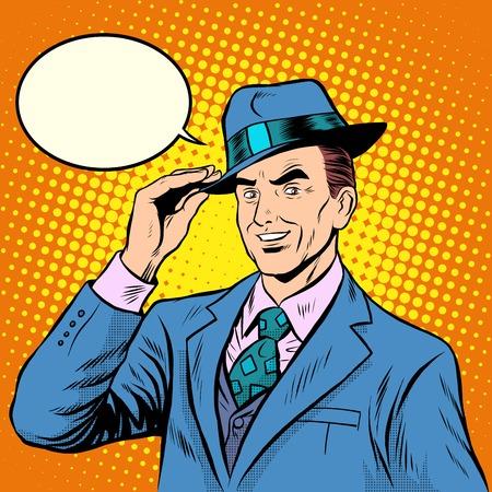 hombre con sombrero: la gente amable caballero da la bienvenida estilo retro del arte pop. Etiqueta y agradable meeting.The hombre elegante en juego retro