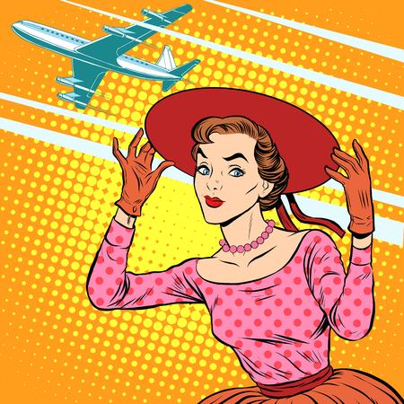 arte moderno: estilo retro del arte pop viaje aeropuerto mujer. El turismo y el descanso. Chica en el sombrero de ala ancha ve bajar del avi�n