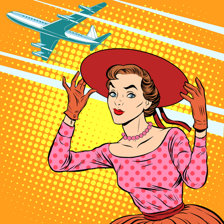 Woman airport journey pop art retro style. Tourism and rest. Girl in wide-brimmed hat sees off the plane