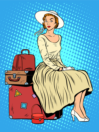 vintage illustration: girl passenger baggage travel trip pop art retro style. The woman and his things. Moving with Luggage. Shipping and transportation